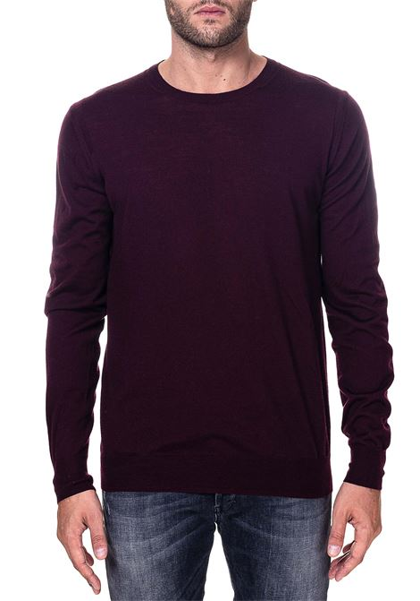 BURGUNDY SWEATER IN WOOL MODEL FINENESS 16 PAOLO PECORA | Sweaters | A001F0014469