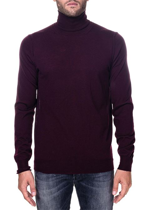 HIGH NECK WOOL BORDEAUX SWEATER MODEL FINENESS 16 PAOLO PECORA | Sweaters | A003F0014469