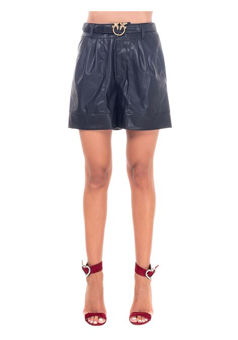 BLACK LEATHER-EFFECT SHORTS WITH LOVE BIRDS BUCKLE PINKO | Shorts | BIAGIO1G151WY6BEZ99