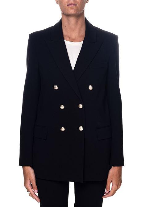 DOUBLE-BREASTED BLACK BLAZER IN FABRIC STITCH CHINOTTO MODEL PINKO | Jackets | CHINOTTO3 1G158S1739Z99