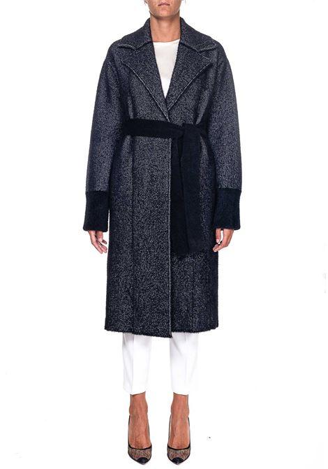 LONG COAT IN MIXED WOOL CHEVRON KOREA MODEL PINKO | Coats | COREA1G1581Y6CHZZ2