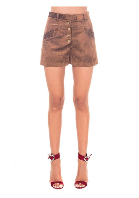 BROWN SHORTS IN RIBBED VELVET PINKO | Shorts | ELETTROLITI1B14RR8237L24