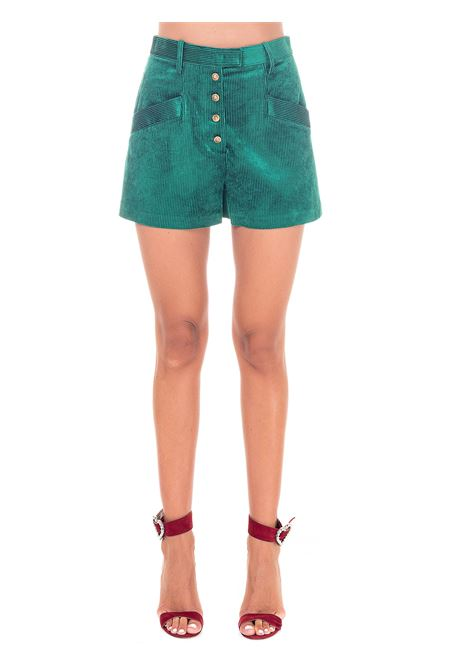 GREEN SHORTS IN RIBBED VELVET PINKO | Shorts | ELETTROLITI1B14RR8237X63