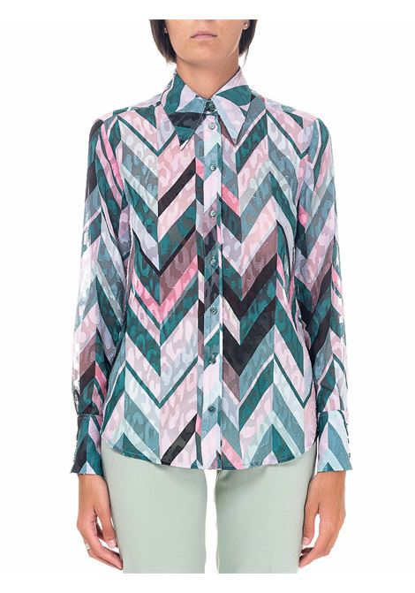 CHEVRON STRIPED SHIRT WITH IRRADIATION MODEL PINKO | Shirts | IRRADIAZIONE1B14U08296SN2