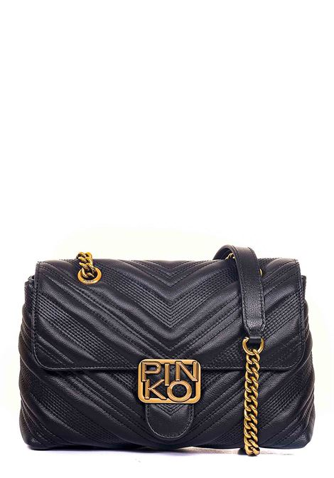BLACK CLASSIC LOGO BAG PUFF CHEVRON IN QUILTED LEATHER PINKO | Bags | LOGOCLASSICPUFFCHEVRONNE 1P21UVY6JJZ99