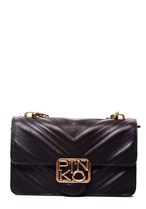 MINI BLACK LEATHER BAG ICON CHEVRON MODEL PINKO | Bags | LOGOMINIICONCHEVRONNECLZ99