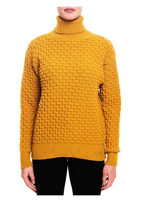 YELLOW TURTLENECK PULLOVER IN STRETCH VISCOSE CLOUD MODEL PINKO | Sweaters | NUVOLOSITA1B14X2Y6QPA42