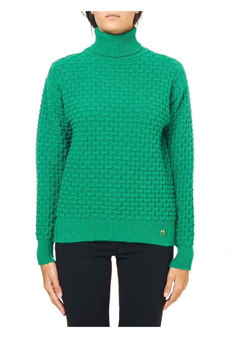 GREEN TURTLENECK PULLOVER IN STRETCH VISCOSE CLOUD MODEL PINKO | Sweaters | NUVOLOSITA1B14X2Y6QPT68