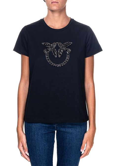 BLACK COTTON T-SHIRT WITH LOVE BIRDS EMBROIDERY QUENTIN MODEL PINKO | T-shirt | QUENTIN1G15GEY4LXZ99