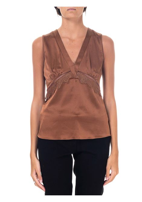 TOP MARRONE IN RASO DI SETA STRETCH CON PIZZO PINKO | Top | SABINO1 1G15E2Y6B1L81