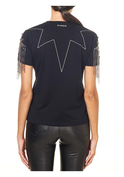 BLACK COTTON JERSEY T-SHIRT WITH RHINESTONES ON THE SLEEVES SIGFRIDO MODEL PINKO | T-shirt | SIGFRIDO 1G15ASY6FUZ99