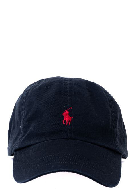 BLACK COTTON HAT WITH FRONT LOGO EMBROIDERY POLO RALPH LAUREN | Hats | 710548524004