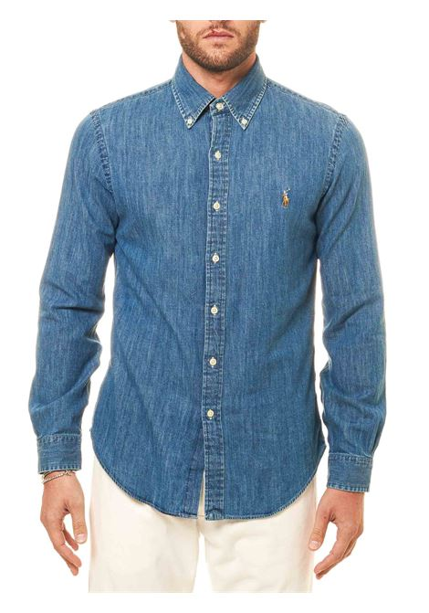 COTTON DENIM SHIRT WITH FRONT LOGO EMBROIDERY POLO RALPH LAUREN | Shirts | 710548539JEANS