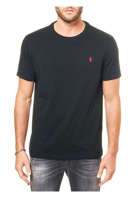 BLACK COTTON T-SHIRT WITH CONTRASTED LOGO EMBROIDERY POLO RALPH LAUREN | T-shirt | 710680785001