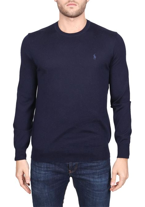 BLUE COTTON JERSEY WITH FRONT LOGO EMBROIDERY POLO RALPH LAUREN | Sweaters | 710714346002