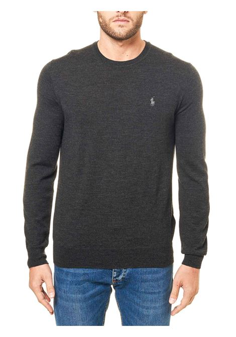 GRAY COTTON JERSEY WITH FRONT LOGO EMBROIDERY POLO RALPH LAUREN | Sweaters | 710714346008