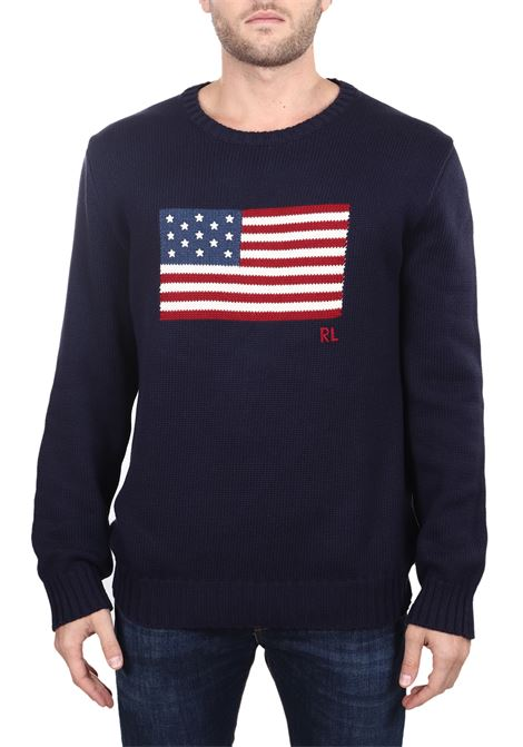 BLUE FLAG COTTON SWEATER POLO RALPH LAUREN | Sweaters | 710718281001