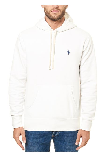 WHITE COTTON SWEATSHIRT WITH FRONT LOGO EMBROIDERY POLO RALPH LAUREN | Sweatshirts | 710766778009