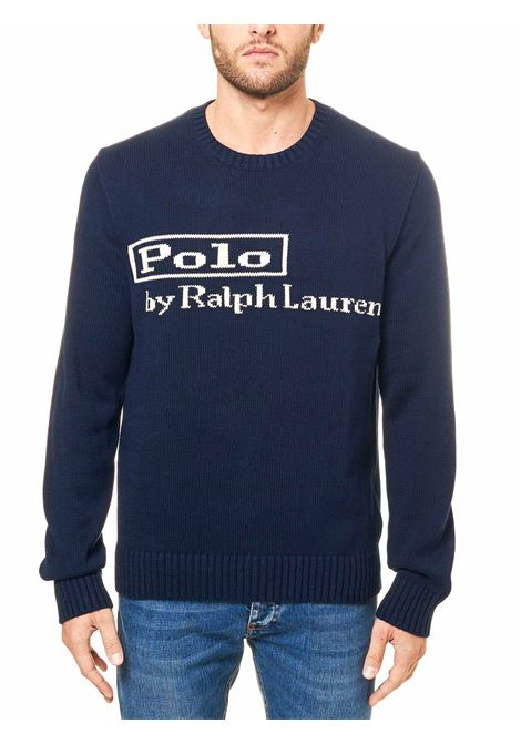BLUE COTTON SWEATER WITH FRONT LOGO INLAY POLO RALPH LAUREN | Sweaters | 710810847001