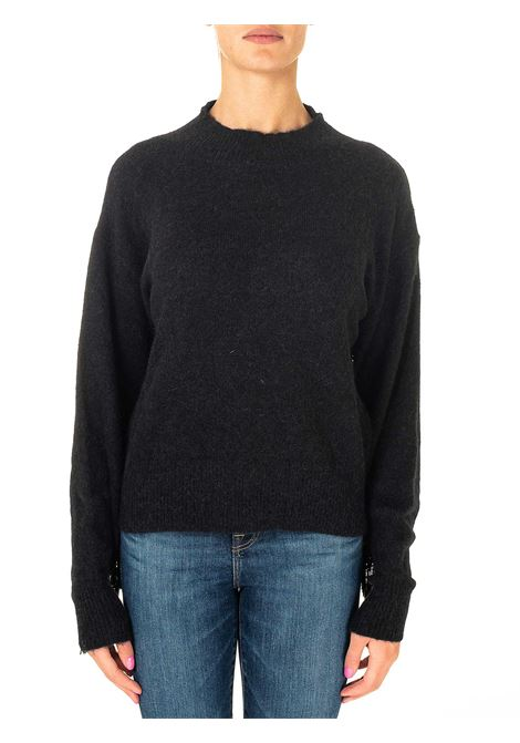 BLACK SWEATER IN MIXED WOOL AND ALPACA WITH FRINGES ROBERTO COLLINA | Sweaters | D29045JD29J09