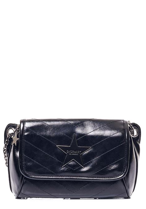 SHINY QUILTED BLACK BAG WITH FRONT LOGO APPLICATION SHOP*ART | Bags | SA030114NERO