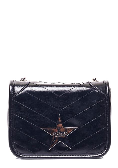 SHINY QUILTED BLACK BAG WITH FRONT LOGO APPLICATION SHOP*ART | Bags | SA030115NERO