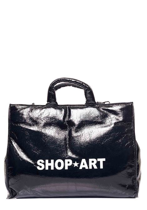 BLACK BAG IN SHINY FAUX LEATHER WITH FRONT LOGO PRINT SHOP*ART | Bags | SA030128NERO