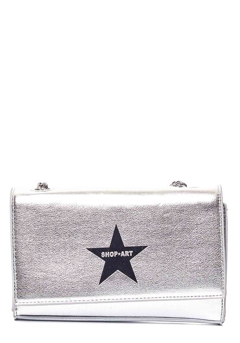 SILVER BAG IN HAMMERED FAUX LEATHER WITH FRONT LOGO PRINT SHOP*ART |  | SA030129ARGENTO