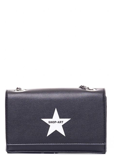 BLACK BAG IN HAMMERED FAUX LEATHER WITH FRONT LOGO PRINT SHOP*ART |  | SA030129NERO
