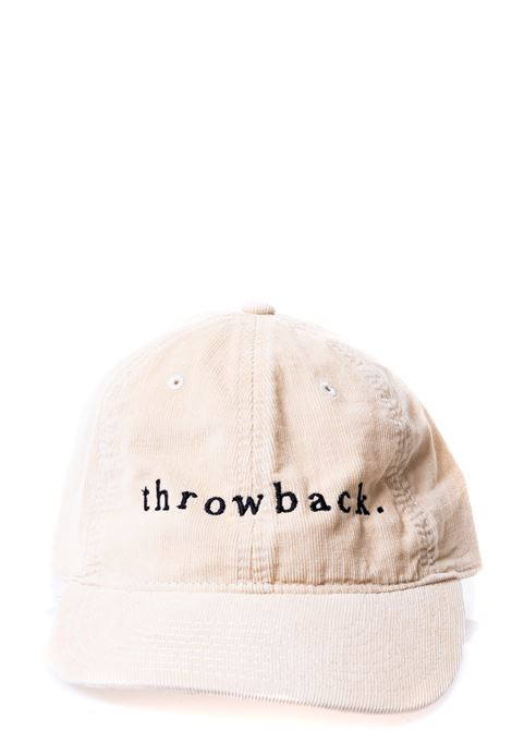 BEIGE COTTON HAT WITH FRONT LOGO EMBROIDERY THROWBACK | Hats | TBA-HATBEIGE