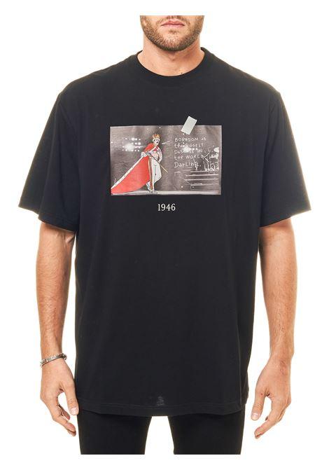 BLACK COTTON T-SHIRT WITH FRONT PRINT FREDDIE MODEL THROWBACK | T-shirt | TBTFREDDIENERO