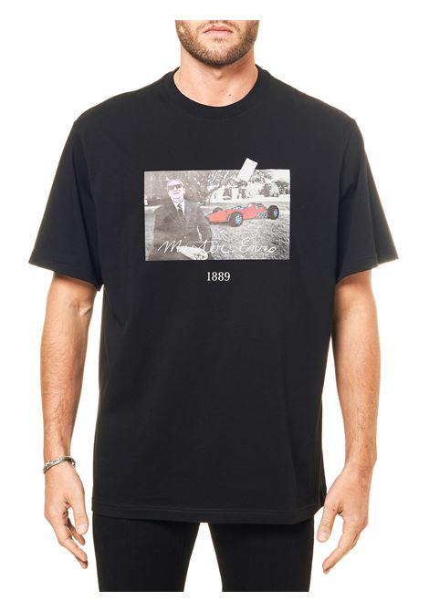 BLACK COTTON T-SHIRT WITH FRONT PRINT MODEL MR ENZO THROWBACK | T-shirt | TBTMRENZONERO