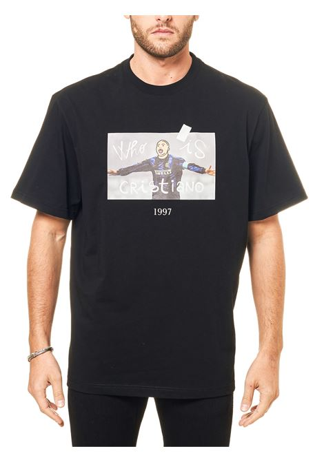 BLACK COTTON T-SHIRT WITH FRONT RONNY PRINT THROWBACK | T-shirt | TBTRONNYNERO