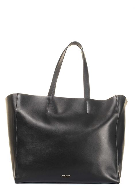 BLACK LEATHER SHOPPING BAG AMANDA MODEL VISONE | Bags | AMANDALEATHERBIGNERO