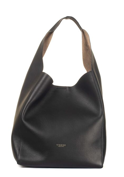 BLACK LEATHER BAG ELIZABETH MODEL VISONE | Bags | ELIZABETHLEATHERNERO
