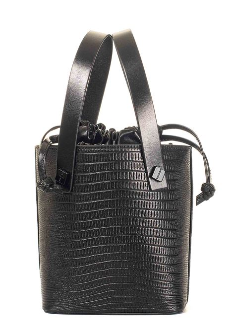LEILA BLACK LEATHER BAG VISONE | Bags | LEILAPRINTEDLIZARDLEATHERSMALLNERO
