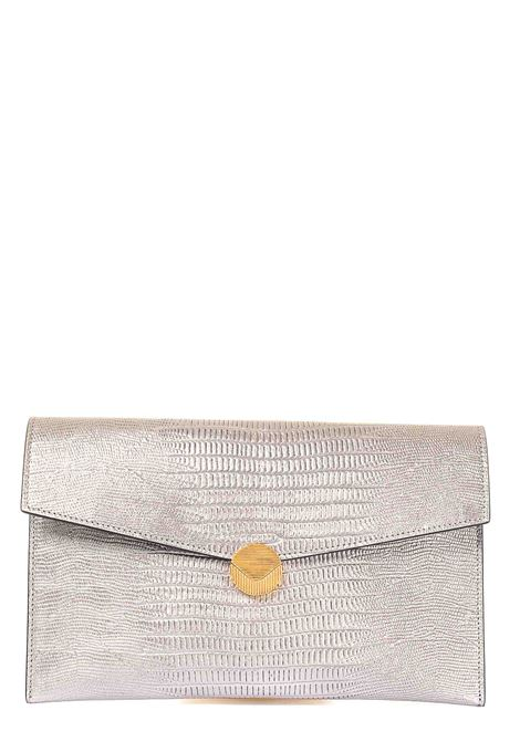 SILVER CLUTCH IN LEATHER PATTY MODEL VISONE |  | PATTYPRINTEDLIZARDLEATHERBIGARGENTO