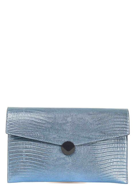 BLUE CLUTCH IN LEATHER PATTY MOD VISONE |  | PATTYPRINTEDLIZARDLEATHERBIGBLU
