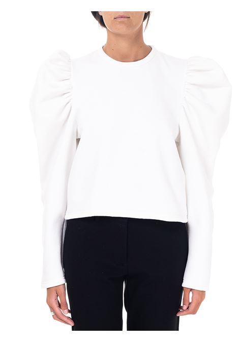 CROP WHITE SWEATSHIRT IN COTTON BLEND weili zheng | Sweatshirts | WWZFC27W01