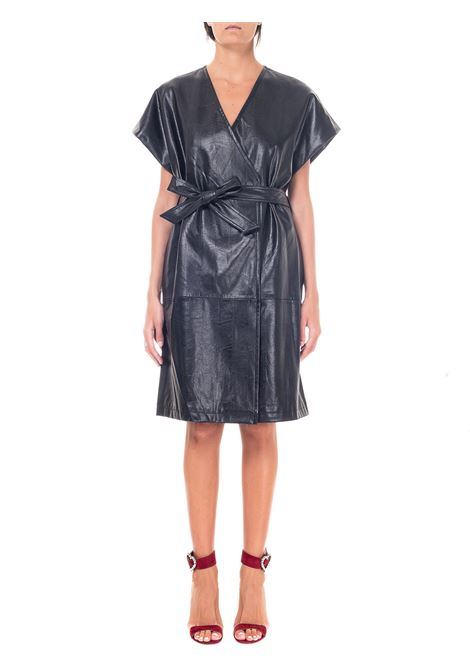 BLACK DRESS IN LEATHERETTE weili zheng | Dress | WWZJG19NL9