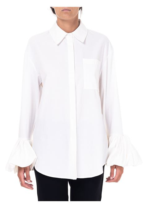 STRIPED WHITE SHIRT IN COTTON BLEND weili zheng | Shirts | WWZSL80W01