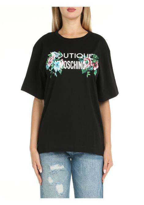 T-SHIRT IN COTONE NERA BOUTIQUE MOSCHINO | T-shirt | 120258602555