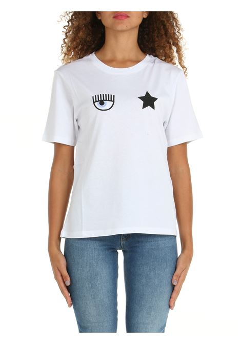 T-SHIRT IN COTONE BIANCA CHIARA FERRAGNI   T-shirt   71CBHT01CJC0T003