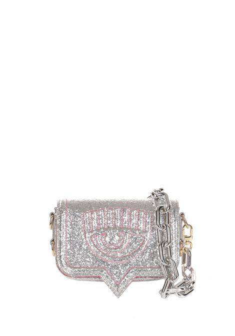 SMALL EYELIKE SILVER GLITTER BAG CHIARA FERRAGNI | Bags | 71SB4BA2ZS134900