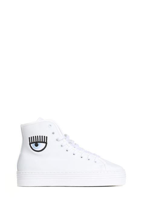 SNEAKERS ALTE IN PELLE CON LOGO EYEHEART CHIARA FERRAGNI | Sneakers | CF2847009AWHITE