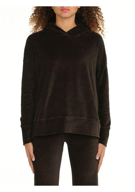 HOODED SWEATSHIRT IN CHENILLE DOU DOU | Sweatshirt | MANHATTAN05MARRONE