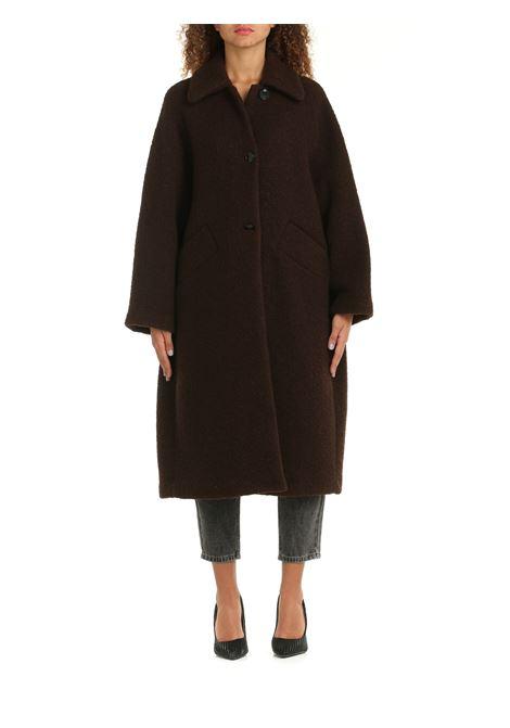 OVERSIZE PLANTER COAT IN BROWN WOOL DOU DOU | Coats | PLANTERMARRONE