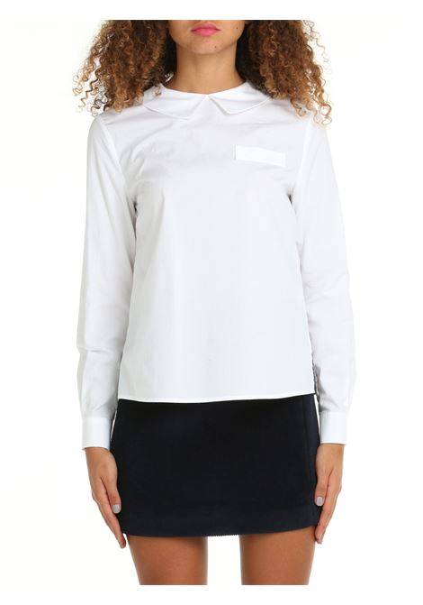 BLOUSE WITH FAKE POCKET IN WHITE POPLIN DOU DOU | Shirts | TASSONIDD04BIANCO