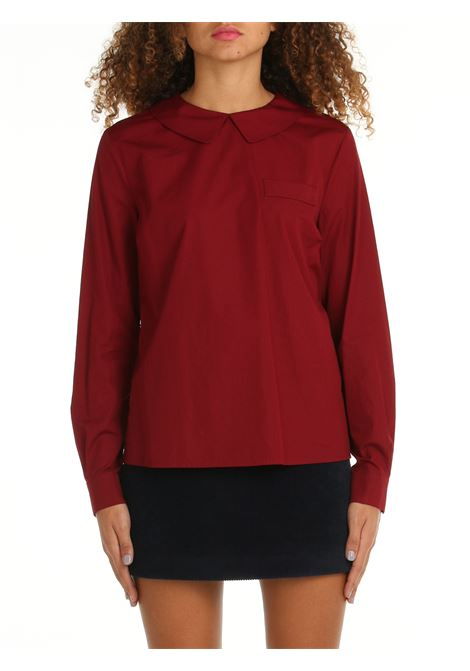 BLOUSE WITH FAKE POCKET IN BORDEAUX POPLIN DOU DOU | Shirts | TASSONIDD04BORDEAUX