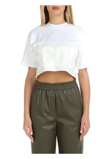 CROP T-SHIRT WITH LOGO BAND GCDS | T-shirt | CC94W02050301